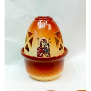 Πήλινο καντήλι με επικάλυψη πορσελάνης Παναγία Καντήλια Εκκλησιαστικά Είδη - jeroucalim-shop.gr
